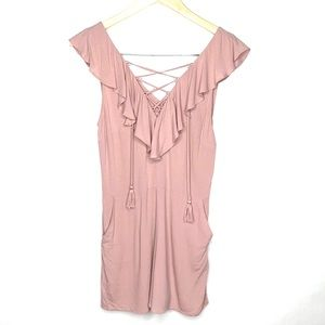 Kendall + Kylie lace up tassel ruffled romper
